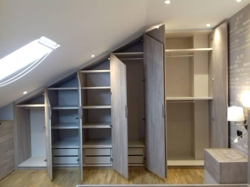Interiores a medida armario abuhardillado 6 puertas - Armarios con puertas abatibles ...