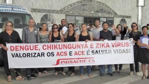 ACE e ACS da Serra realizam protesto em frente à Secretaria de Saúde do Município