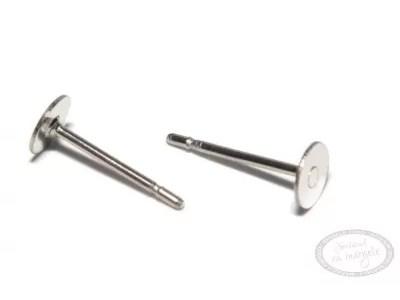 Baza pt cercei cu platou 4mm, inox chirurgical, 6 buc.