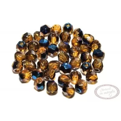 Margele Fire Polish 3mm : Blue Iris - Topaz, 80 buc