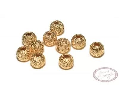 Margea metalica Stardust rotunda, 4mm, placata cu aur