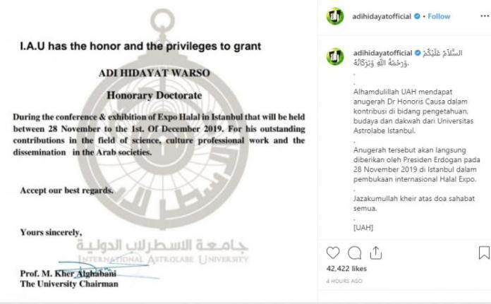 Ustadz Adi Hidayat Akan Terima Gelar Kehormatan dari Erdogan