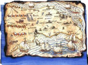 Silk Road map land and sea Azerbaijan