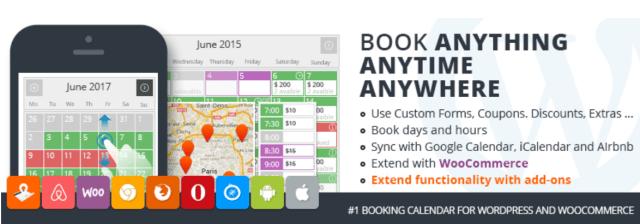 Captura de un calendario del plugin de reservas PinPoint Booking Calendar