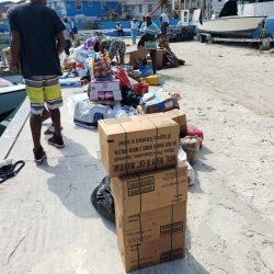 Supplies being transported to Grand Cay by Cordell Rolle.