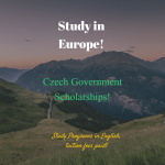 Czech Government Scholarships For Foreign Nationals