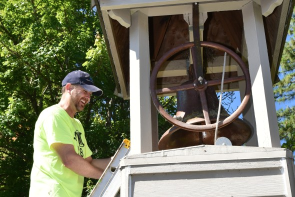 The bell tower at North Albany Elementary gets painted.