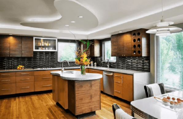 L Shaped Kitchen Concrete House