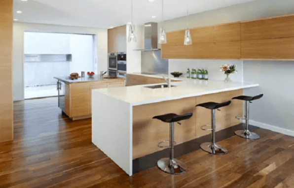 White Color L-Shape Kitchen Residence