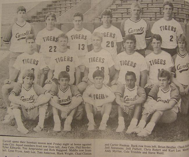 Carroll High School Baseball 1986