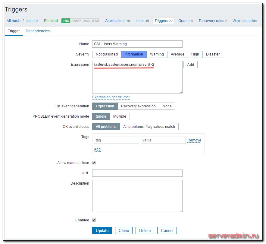 Создание триггера в zabbix