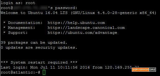 login ubuntu 1604