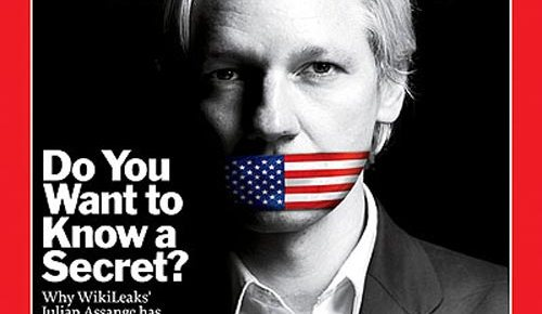 julian assange time magazine cover color american flag gag over mouth