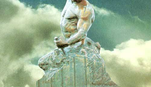 self made man statuette cutting stone color background clouds bobbie carlyle artist