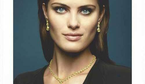 bucherer color advertisement beautiful woman model headshot with necklace earrings virtuous sensuous
