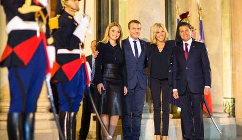 president macron visits mexico color honor guard