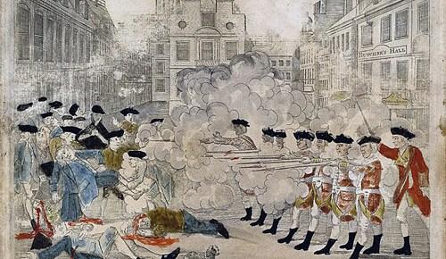 boston massacre color engraving british firing americans shot