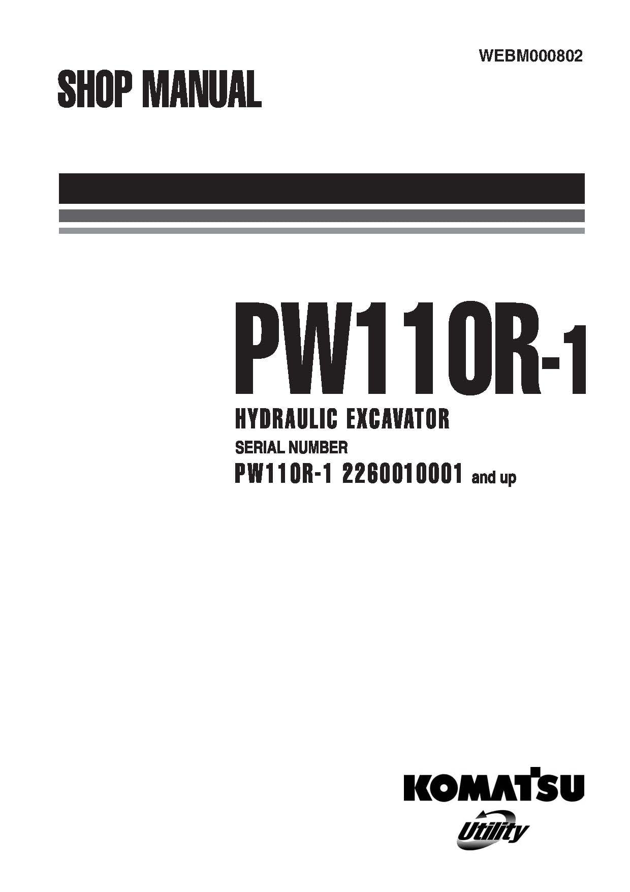 Komatsu Pw110r 1 Hydraulic Wheel Excavator Workshop Repair