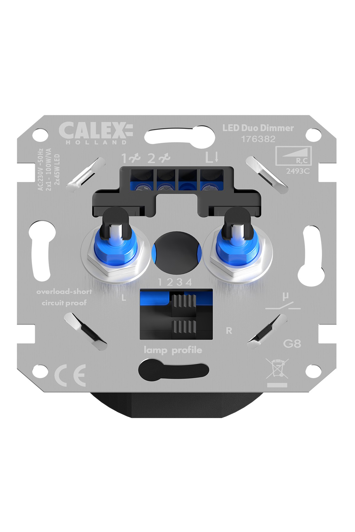 Calex Duo RC Dimmer flush mounting 230V (LED 2x45W) - (GLS 2x100W