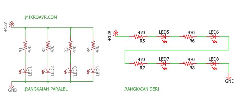 rangkaian lampu led