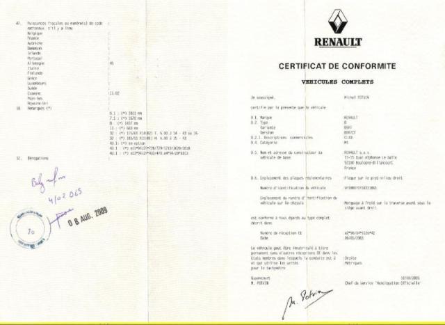 Guide du Certificat de conformité Renault