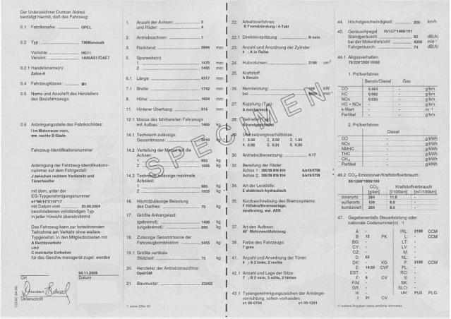 Certificat de conformité Opel officiel