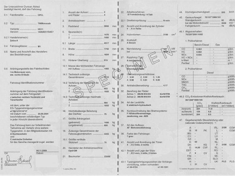 Certificat de conformité Opel