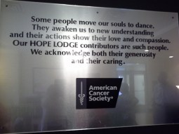 Hope Lodge - American Cancer Society Contributor plaque