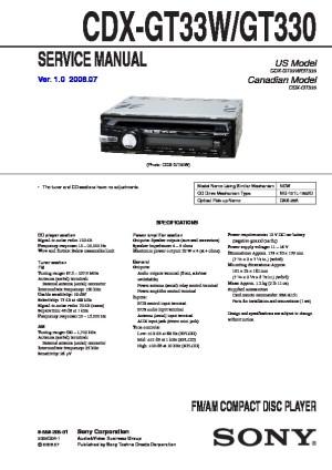 Sony CDXGT330, CDXGT33W Service Manual  FREE DOWNLOAD