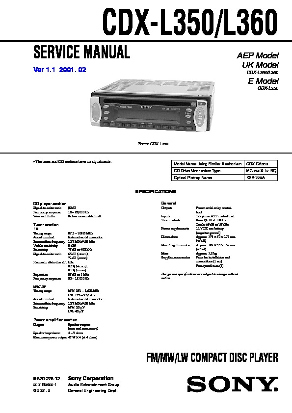 sony car audio service manuals  page 13