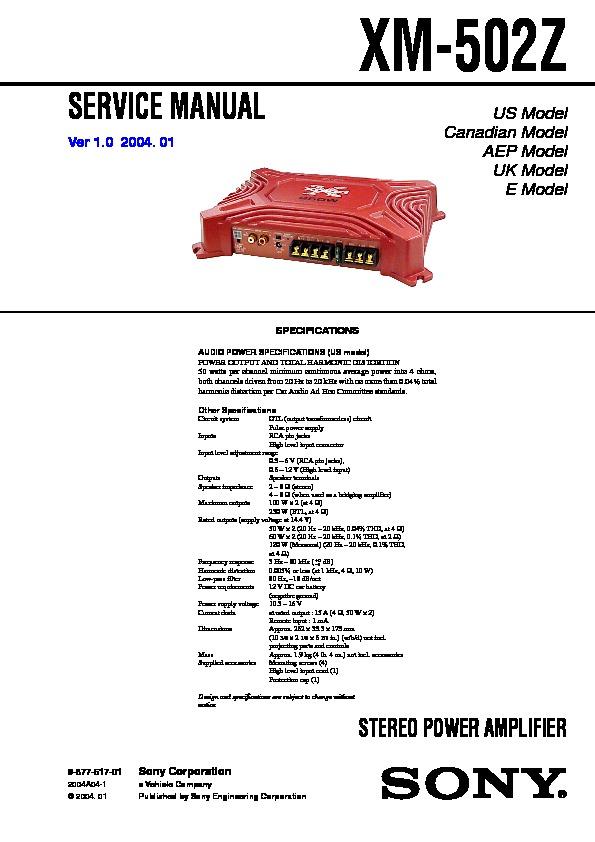 sony xm502z service manual  free download