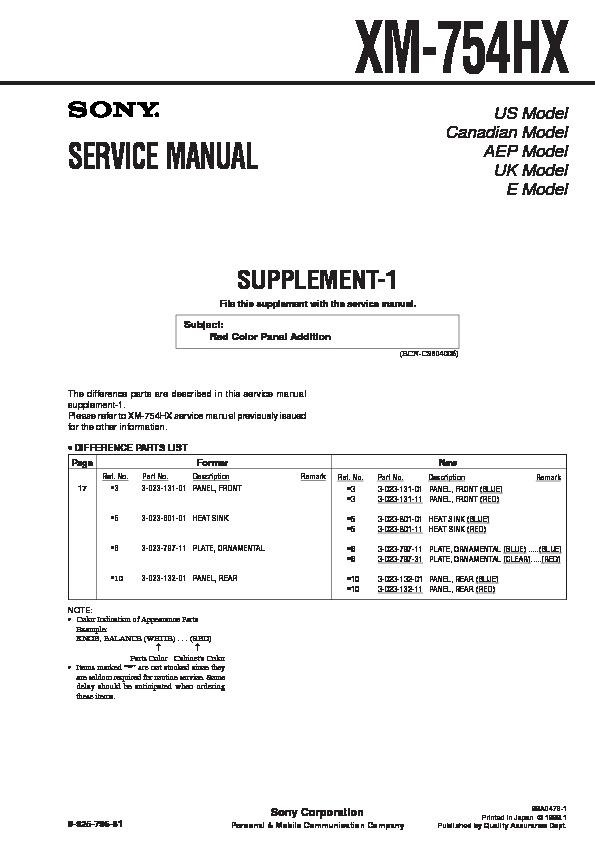 sony xm754hx service manual  free download