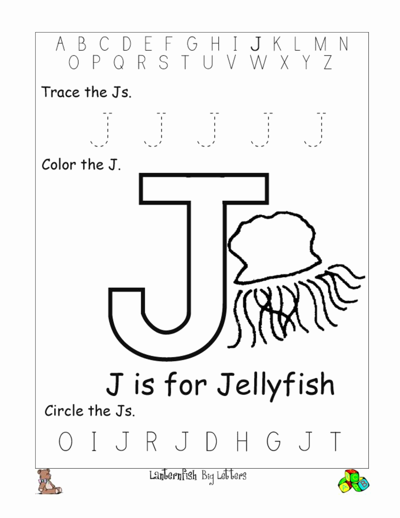Worksheets For Kindergarten Letter J Servicenumber