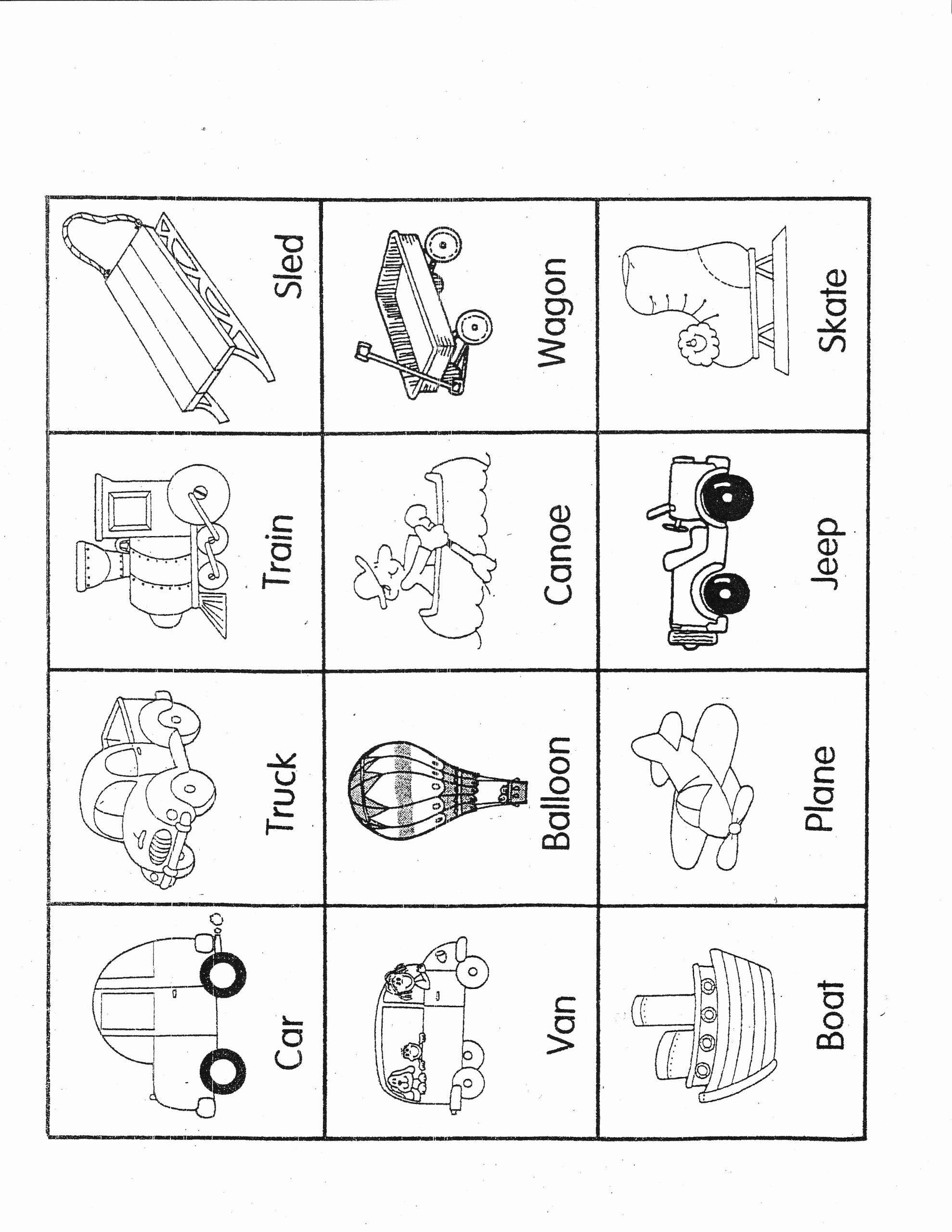 Worksheet For Kindergarten About Transportation