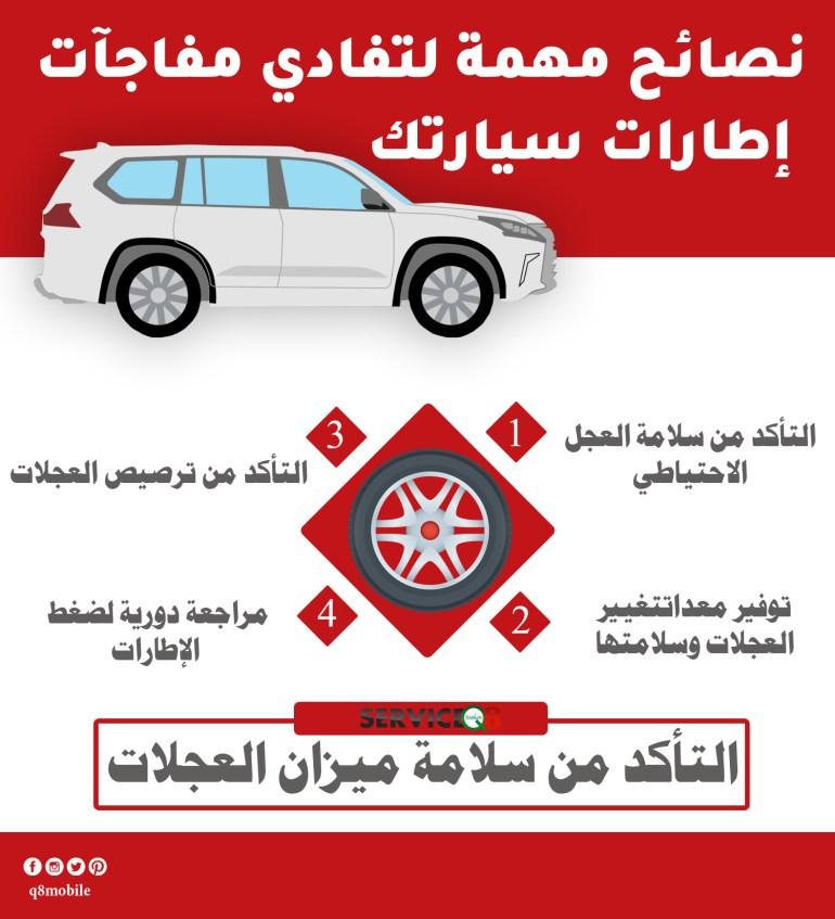 نصائح تفادي مفاجآت اطارات سيارتك