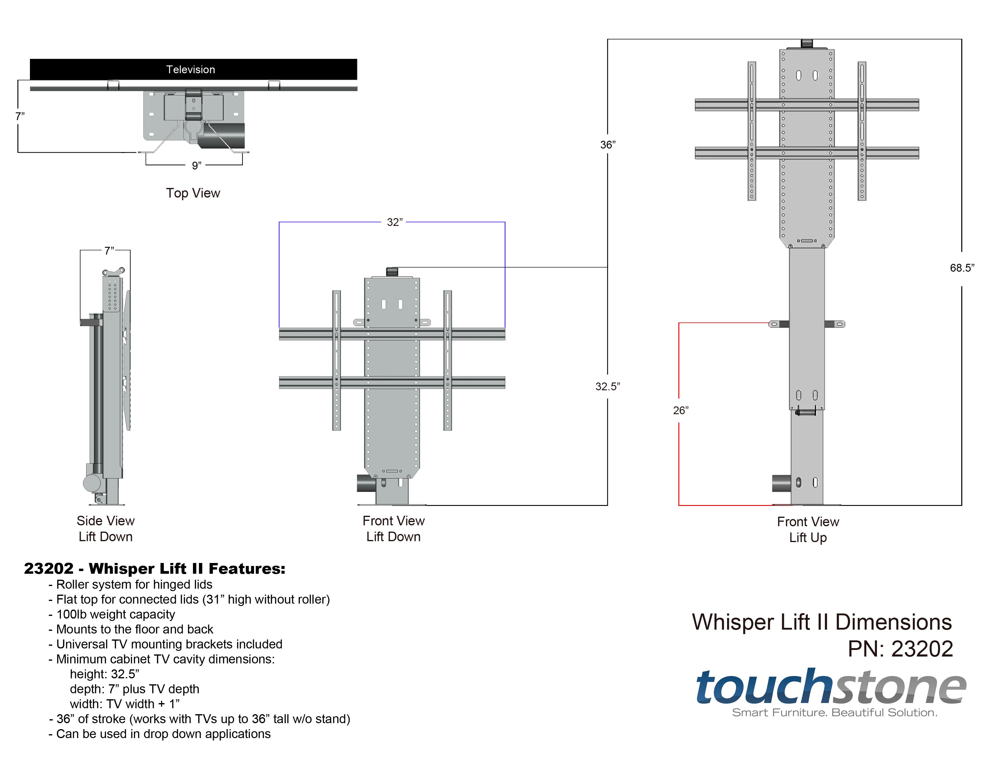 Touchstone Whisper Lift Ii Tv Lift Mechanism