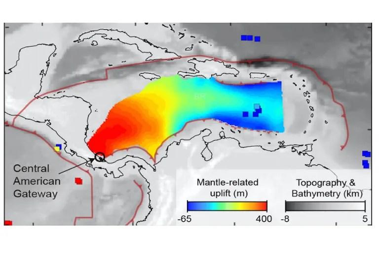 Une image de la surface déformée de la Terre des Caraïbes montre son inclinaison due au manteau coulant vers l'est sous les Caraïbes qui pousse vers le haut des Caraïbes occidentales.