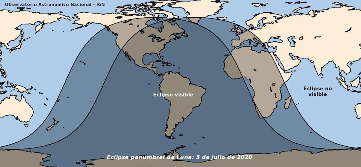 El 5 de julio de 2020 habrá un eclipse lunar penumbral