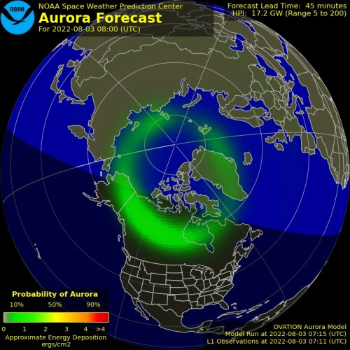 Aurora Forecast - North America - Ovation
