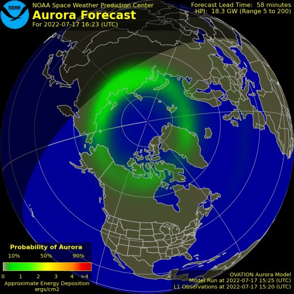 The latest Ovation aurora prediction plot and animation