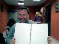 Javier muestra su obra editada en Braille