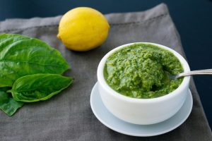 vegan pesto recipe with spoon
