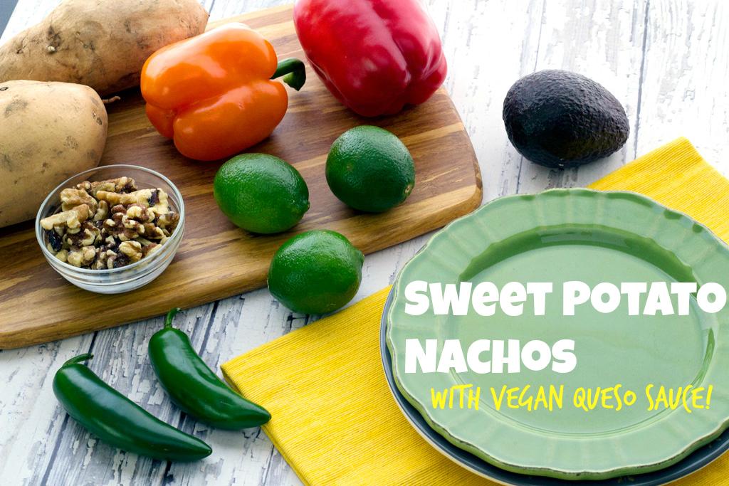 Sweet Potato Nachos with Vegan Nacho Sauce