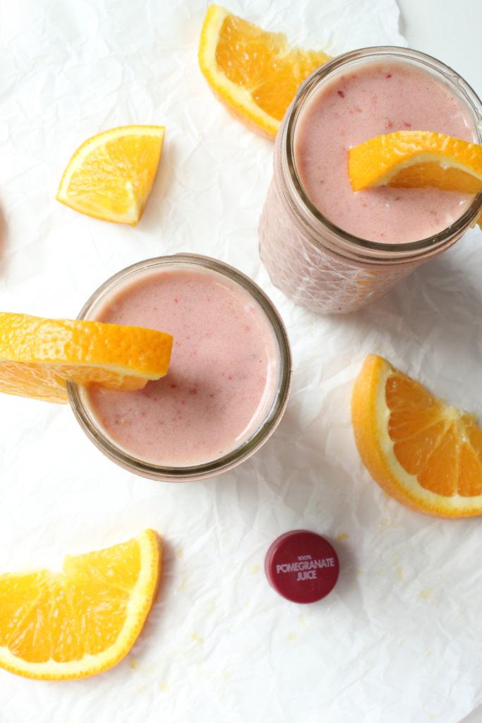 Strawberry Peach Pom smoothie