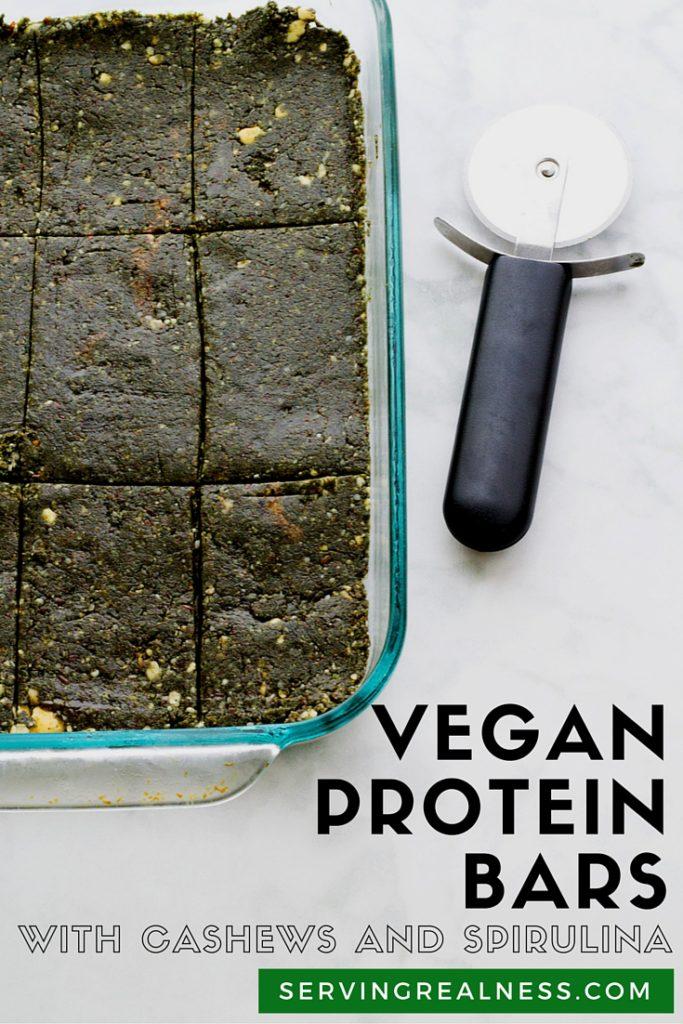 vegan protein bars with cashews and spirulina