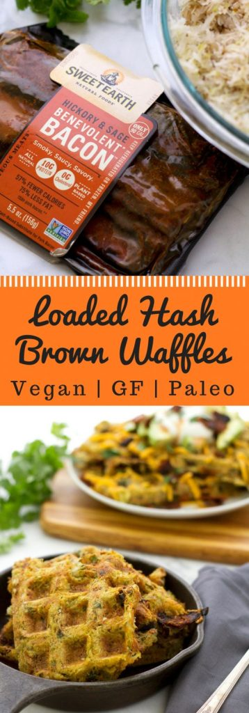 Easy vegan hash brown waffle recipe topped with mayo, bacon, cheese, and avocado! Gluten free, dairy free, and paleo