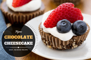 Easy, no-bake, vegan chocolate cheesecake recipe made from cashews