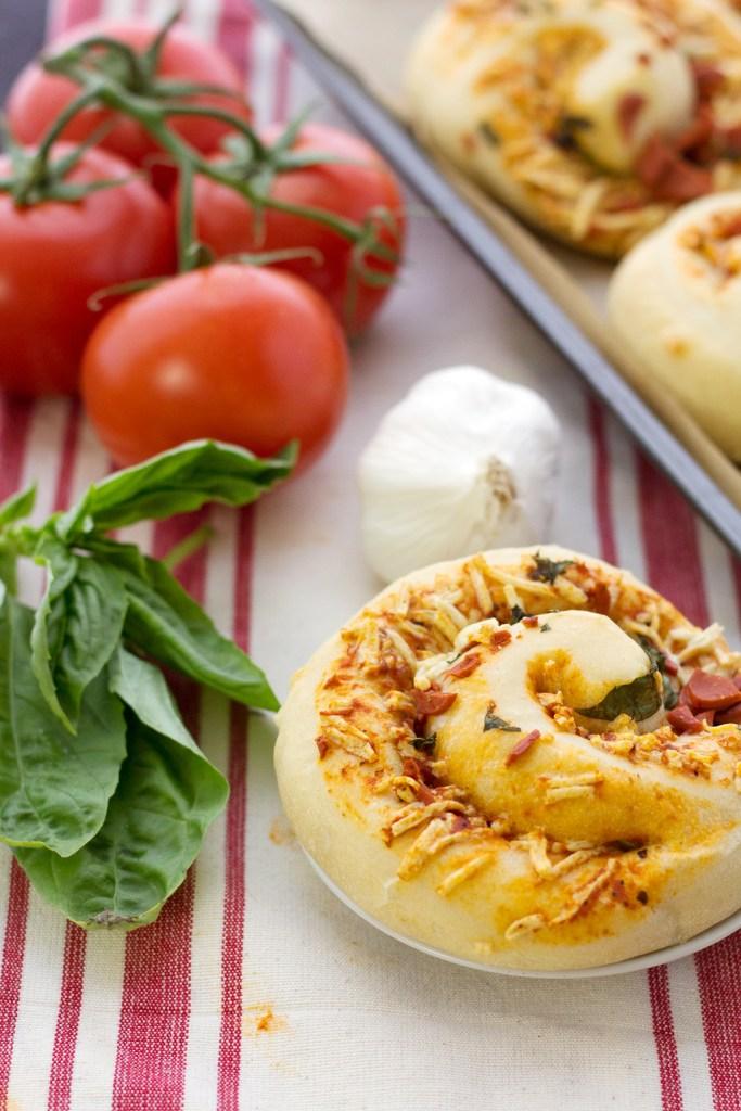 closeup of vegan pizza rolls