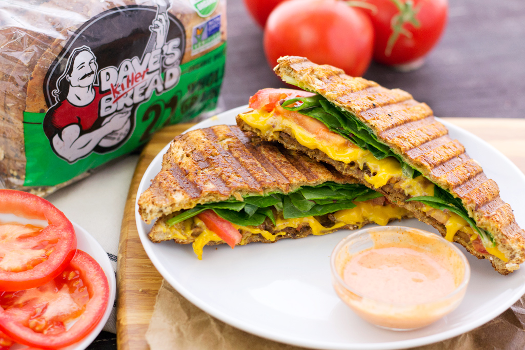 Vegan blt grilled cheese sandwich