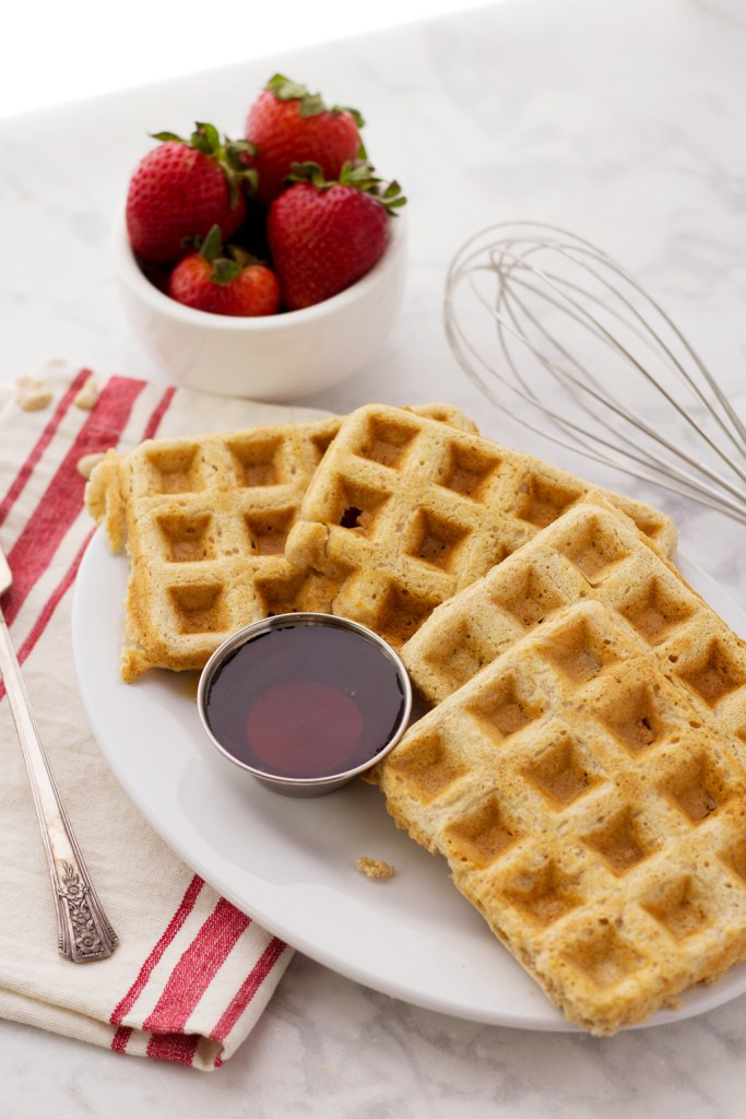 Cooked vegan waffles straight out of the waffle iron